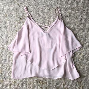 NWT Pale pink flowing tan top